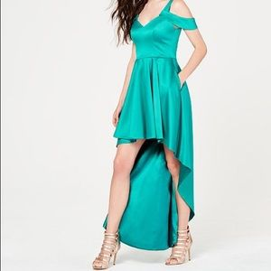 Cold shoulder high low gown